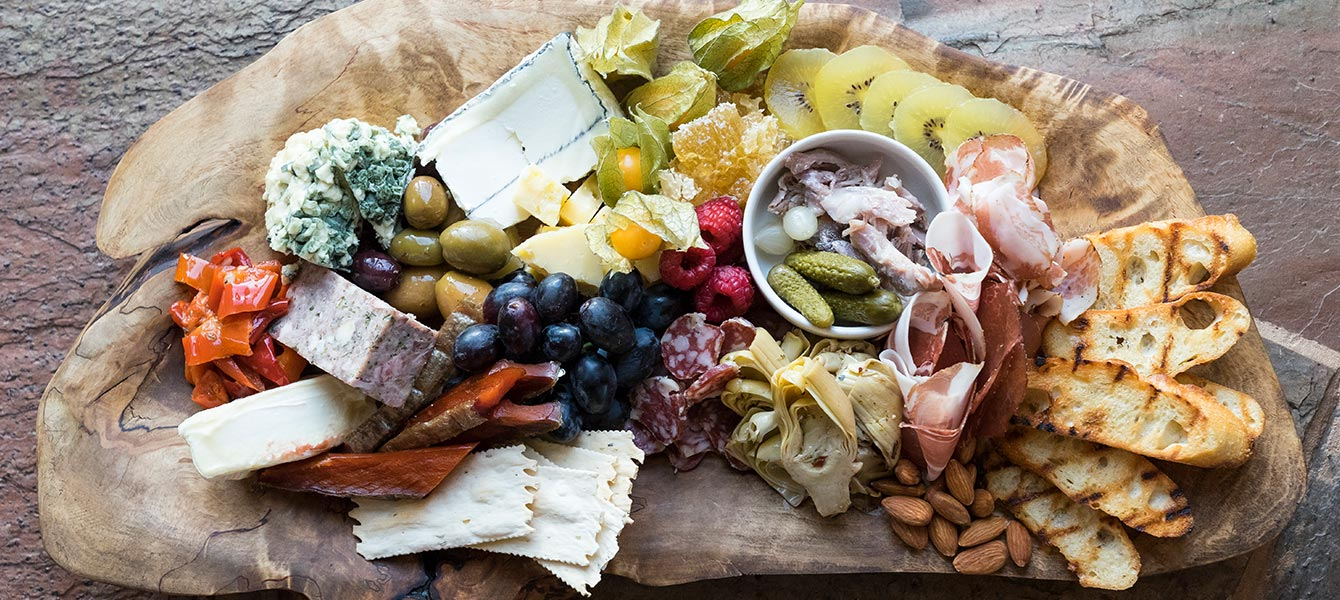 Charcuterie Board featuring many Alaskan sourced delicacies.